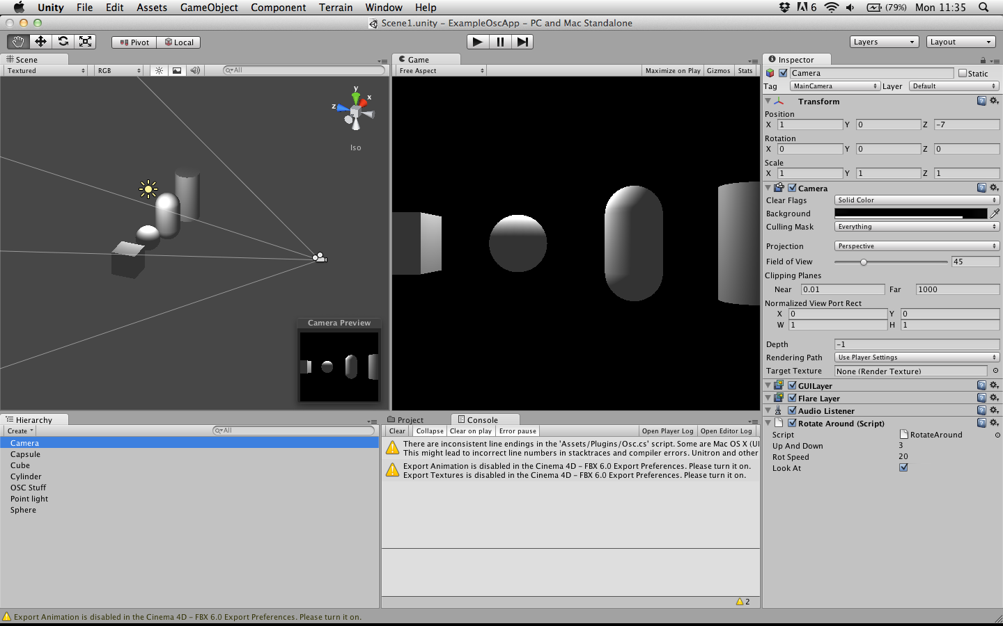 Screenshot of unity workspace creativeapplications