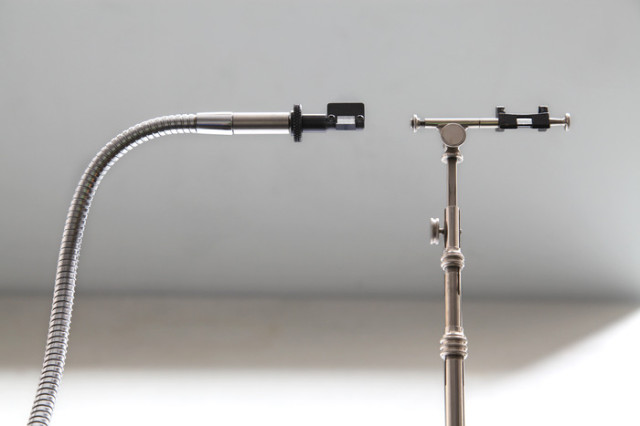 Left: NeoLucida, $30. Right: An antique Camera Lucida (c.1900), about $350 on eBay. Owing to modern innovations such as adjustable gooseneck, the NeoLucida has a considerably simpler design.