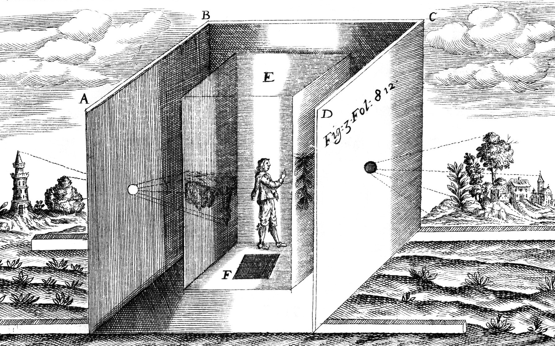 Athanasius Kircher depicts a practical camera obscura in Ars Magna Lucis et Umbrae (The Great Art of Light and Shadow) /  via Neo-Lucida Kickstarter