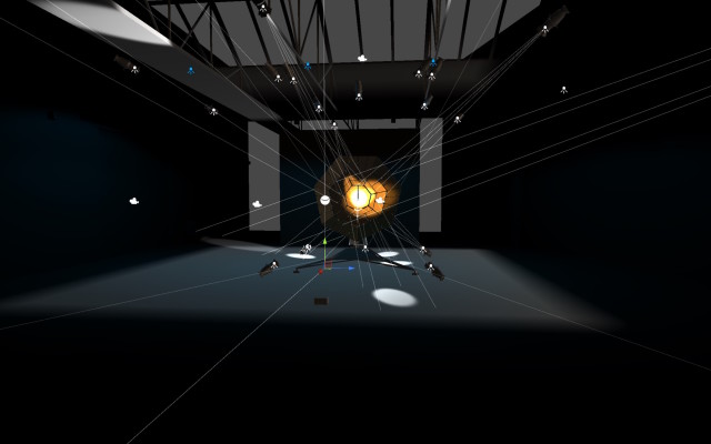Simulation preview for movement / speed / light setup and resulting reflections and includes a precise model of sculpture, space light and speaker positions