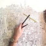 Time-lapse drawing of Manhattan