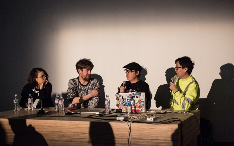 """Cultural Probes"" panel discussion featuring Thomas Thwaites, Kensuke Sembo, Yuri Suzuki and chaired by Régine Debatty in a conversation on 'art as cultural commentary'."