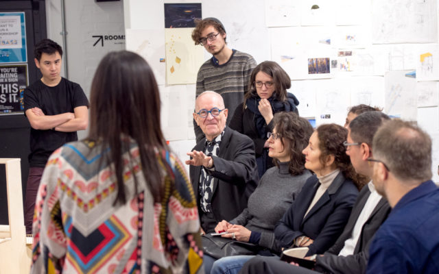 Sir Peter Cook discusses students work during Open Crits, Architecture Year 3 and Year 5 held in Room GO2, Bartlett School of Architecture,140, Hampstead Road by ©Stonehouse Photographic